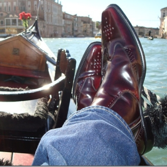 The lovely Stuart Gale and his Twin Zip Hemming Boots atop a Gondola in Venice. Hope you had a wonderful Anniversary!