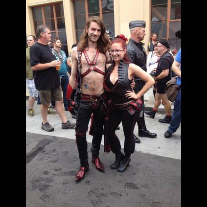 Tom Adams wearing his Rafael Red Skull boots at the Folsom Leather Fest in San Francisco!