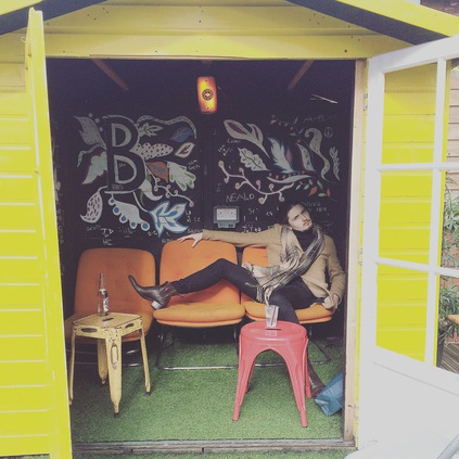 Mr Sam Witthames, lounging in his Rochester Keef boots , That is our kind of beach hut.