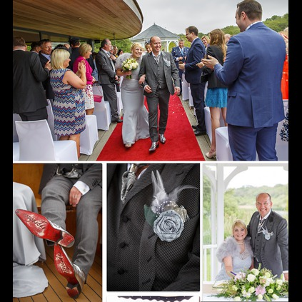 A fantastic shot of Christian Hall on his wedding day, suited by Sir Tom Baker and wearing his Liquid Silver Dead Airman boots!