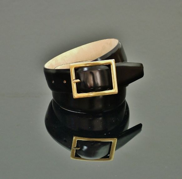 Claudio - Black Polish Belt - Folded Edge