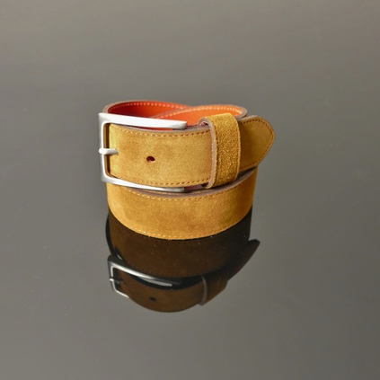 Dirk Jeans Belt - Tan Suede with Red Stitching