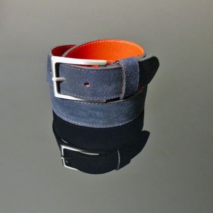 Dirk Jeans Belt - Navy Suede with Red Stitching