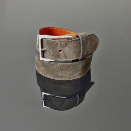 Dirk Jeans Belt - Dark Brown Suede with Red Stitching