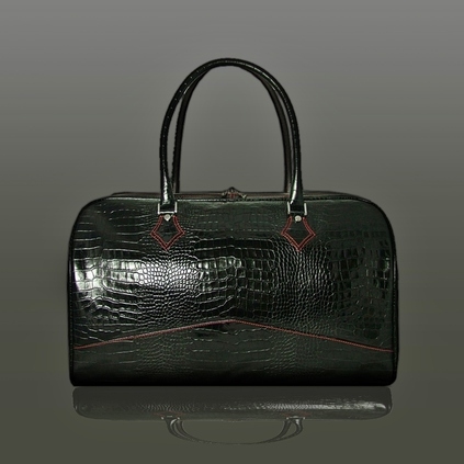 The 'Nightporter' Overnighter Bag - Black Croc