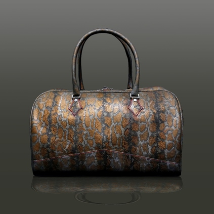 The 'Nightporter' Overnighter Bag - Africa Snake Bronze