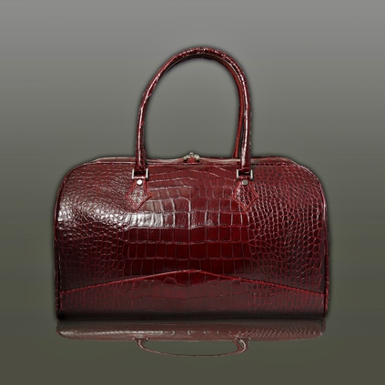 The 'Nightporter' Overnighter Bag - Burgundy Croc