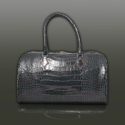 The 'Nightporter' Overnighter Bag - Grey Croc