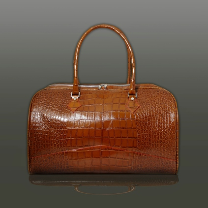 The 'Nightporter' Overnighter Bag - Tan Croc