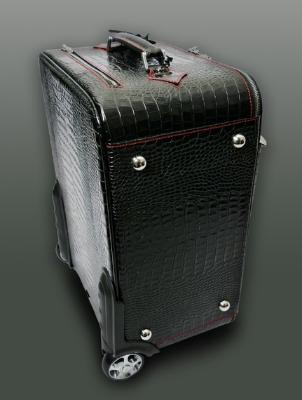 Part of our Hellraiser luggage collection :the 'Richard Burton' Dirty Weekender wheeled Suitcase - Black Croc