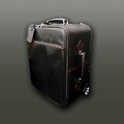 The 'Richard Burton' Dirty Weekender wheeled Suitcase - Black Pinstripe