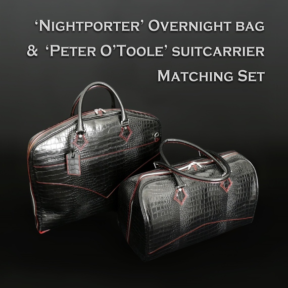 Overnight bag and Suit-carrier Set - Black Crocodile