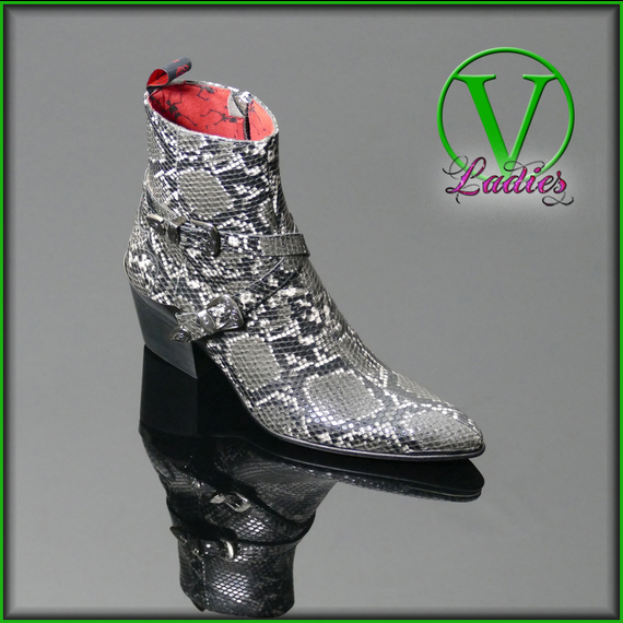 Ladies Sylvian 'K474 DAMAGED' VEGAN Buckled Zip Boot <b>was <s>£265</s> now £215 </b>