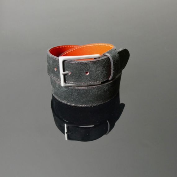 Dirk Jeans Belt - Black Suede with Red Stitching